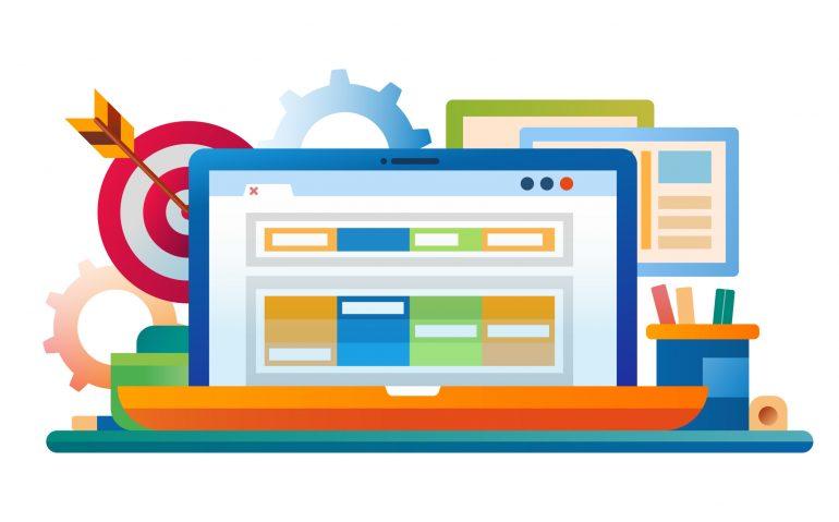Marketing - vector modern flat design illustration with laptop, work place, darts
